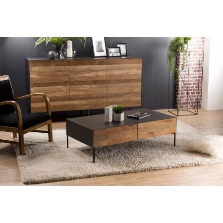 Table basse bois 111x60cm 2 tiroirs Teck...