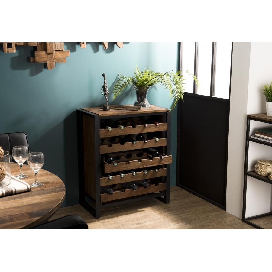 Meuble Rangement Vin 5 Niveaux Bois Teck Recycle Et Metal