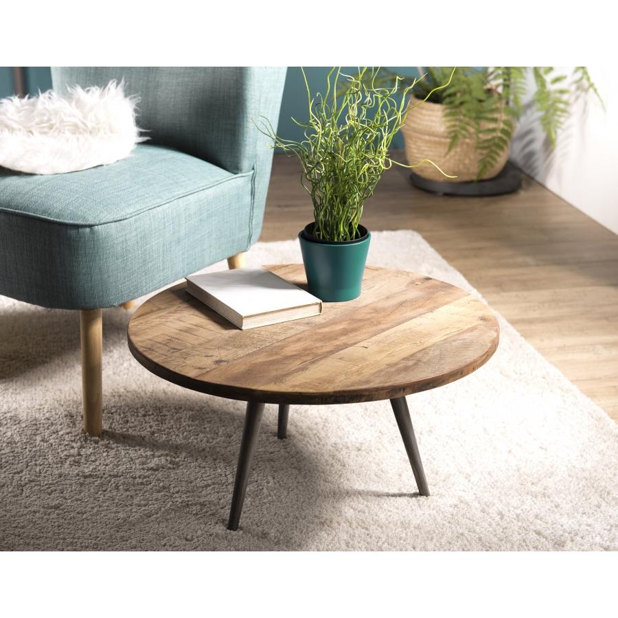 Table basse d\'appoint bois ronde 55x55cm Teck recyclé et pieds métal