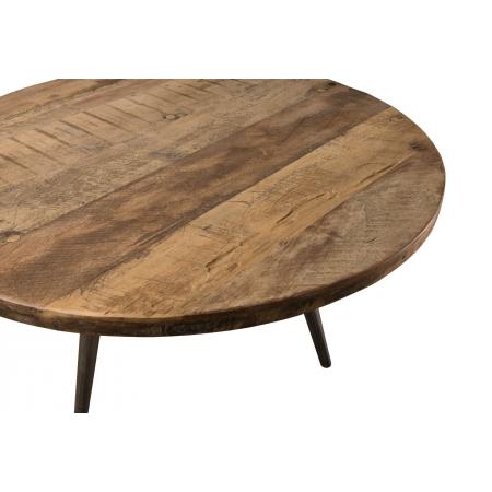 Table basse d\'appoint ronde 55x55cm Teck recyclé et pieds métal