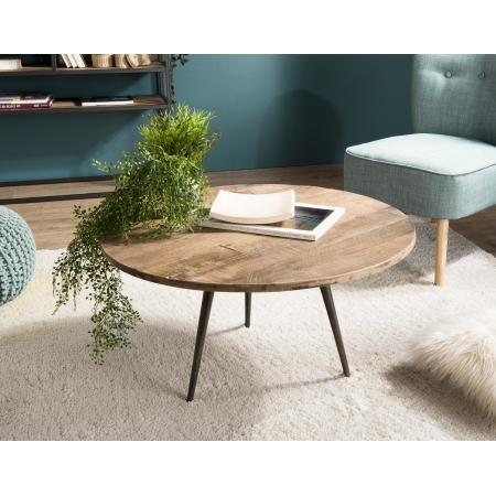 Table basse bois ronde 75x75cm Teck recyclé et...