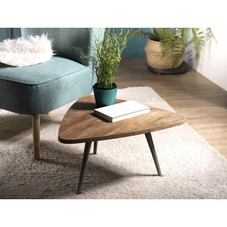Table d'appoint bois ovoide Teck recyclé et métal