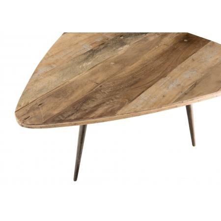 Table basse ovoide Teck recyclé et métal