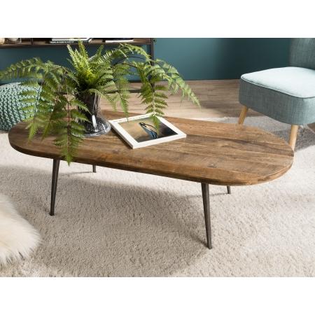 Table basse bois ovale Teck recyclé et métal
