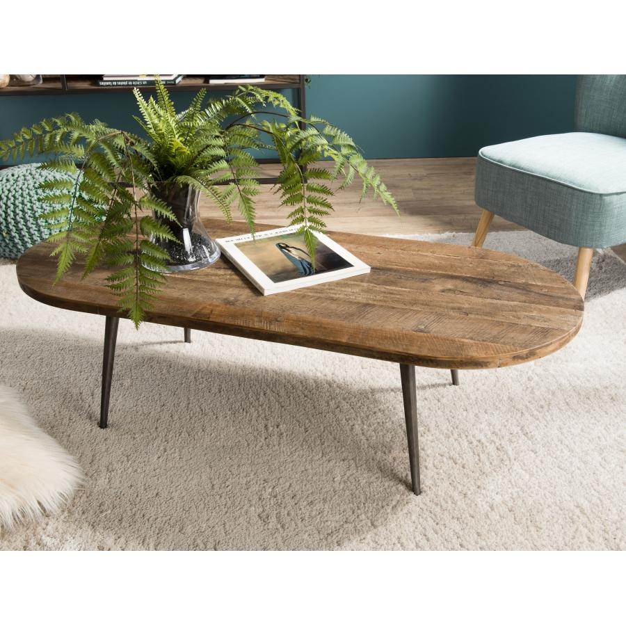 Table Ovale Recyclé Et Basse Teck Métal fyIYb67gv