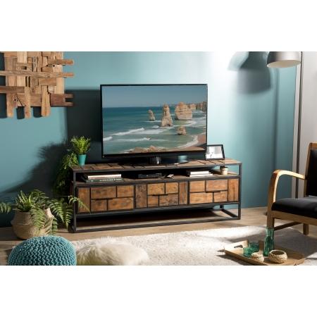 Meuble TV bois 3 tiroirs 1 étagère Teck recyclé...