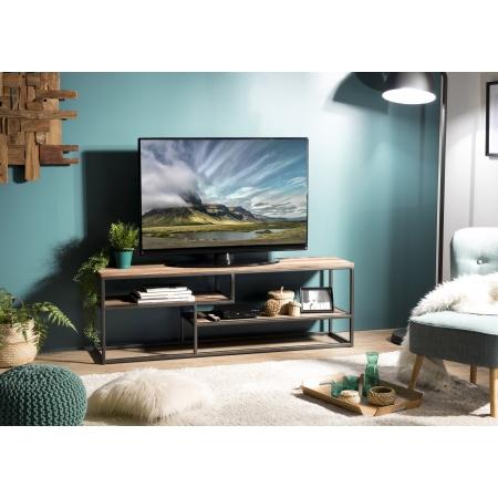 Meuble TV bois 3 niveaux avec tablettes Teck...