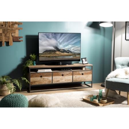 Meuble TV bois 3 tiroirs Teck recyclé Acacia...