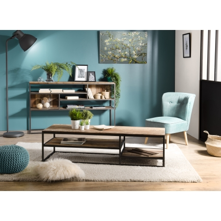 Table basse rectangulaire avec tablettes Teck...