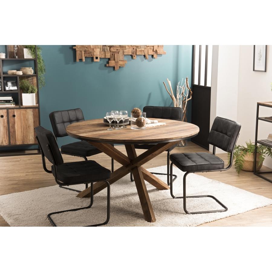 Table à manger bois ronde 130x130cm pieds croisés Teck recyclé Acacia  Mahogany