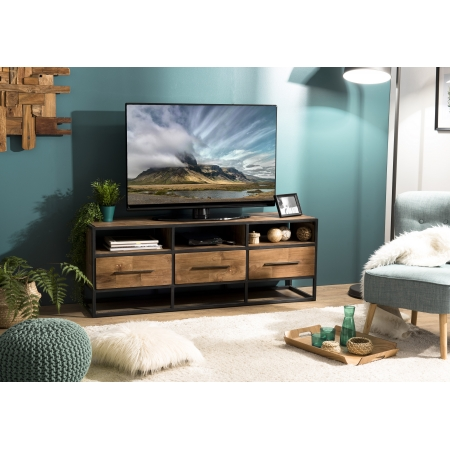 Meuble TV 3 niches 3 tiroirs Teck recyclé et métal