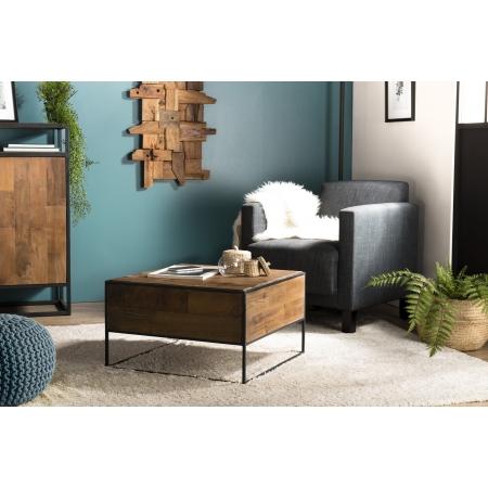 Table d'appoint bois carrée 60x60cm Teck...