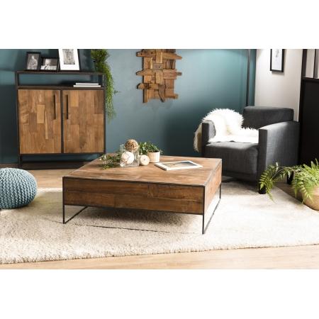 Table basse carrée 100x100cm Teck recyclé et métal