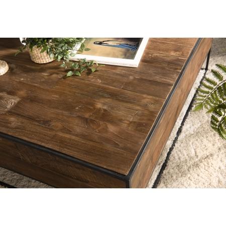 Table Basse Bois Carree 100x100cm Teck Recycle Et Metal