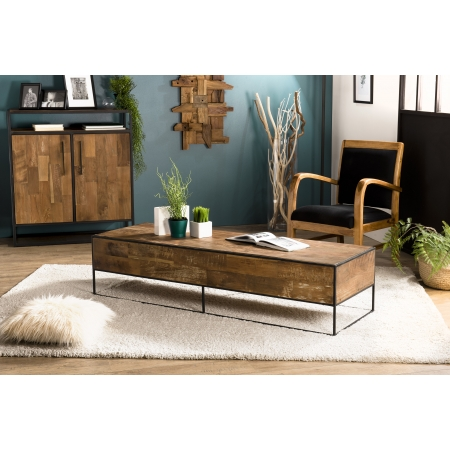 Table basse rectangulaire 150x50cm Teck recyclé...