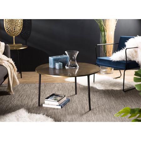 Table basse ronde 80x80cm aluminium doré