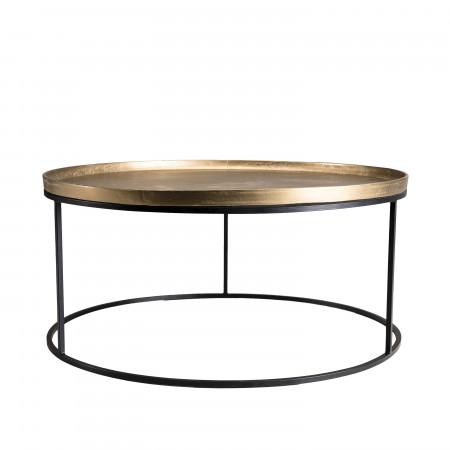 Doré Table Aluminium Basse Ronde Pieds Métal Ronds 88x88cm 2WIbDHY9eE