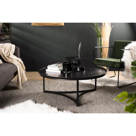 Table basse ronde 100x100cm aluminium noir
