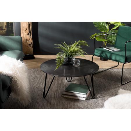 Table basse ronde 75x75cm aluminium noir pieds...