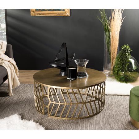 Table basse ronde 89x89cm aluminium doré...