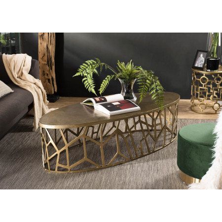 Table basse ovale 150x60cm aluminium doré...