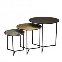 meilleur service 5f8f4 006da Set de 3 tables gigognes rondes aluminium noir doré argenté - pieds métal