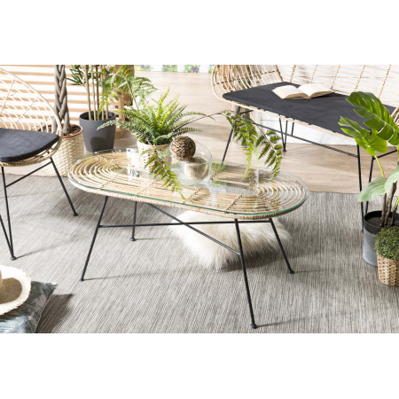 Table 100x45cm rotin naturel plateau verre...