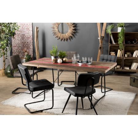 Table à manger bois 180x90cm bois recyclé pieds...
