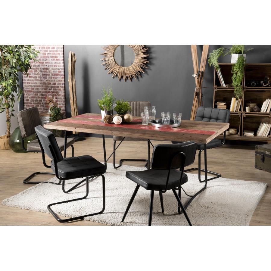 Table à manger bois 180x90cm bois recyclé pieds métal - esprit Brocante