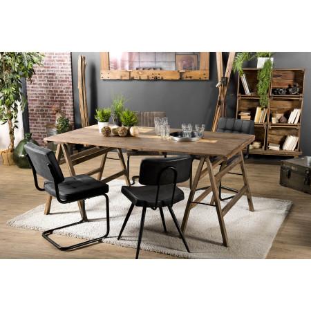 Table tréteaux 180x100cm en bois recyclé -...