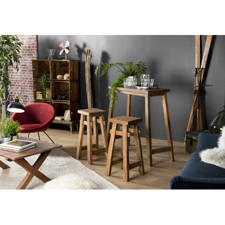 Set de bar bois 1 table 90x40cm et 2 tabourets...
