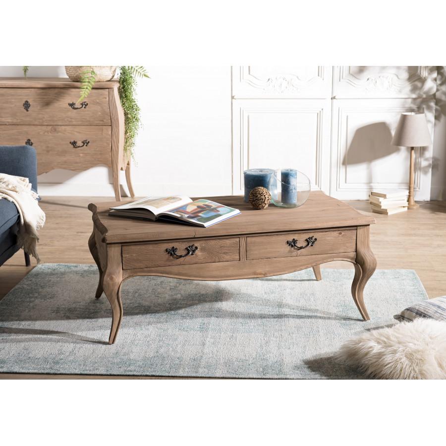 ramasser 40912 1337e Table basse bois 2 tiroirs pin vieilli
