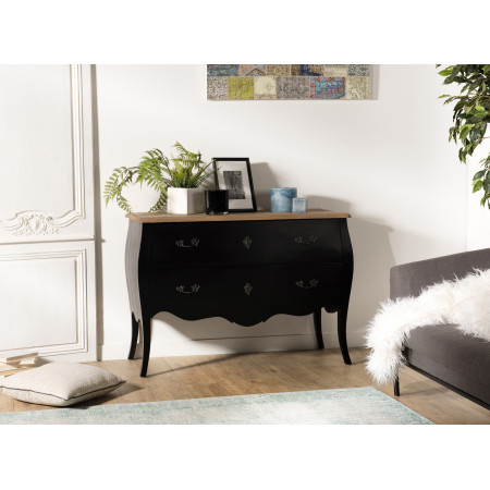 Commode bois 2 tiroirs noire et plateau pin...
