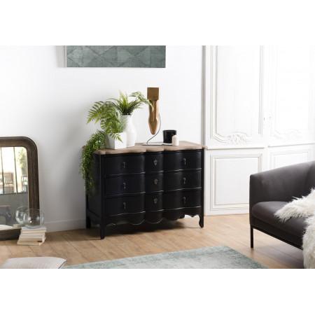 Commode 3 tiroirs noire et plateau pin vieilli