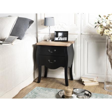 Chevet 2 tiroirs noir et plateau pin vieilli