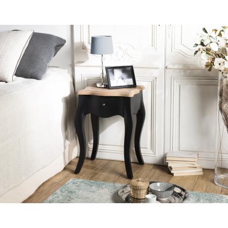 Chevet 1 tiroir noir et plateau pin vieilli