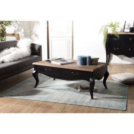 Table basse 2 tiroirs noire et plateau pin vieilli