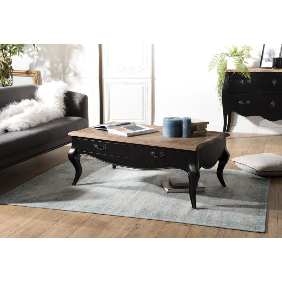 photos officielles f7f64 dcfa7 Table basse bois 2 tiroirs noire et plateau pin vieilli