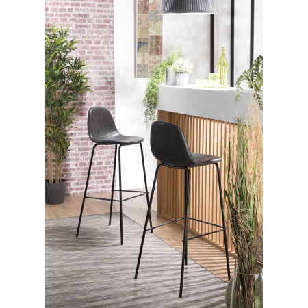 Lot de 2 tabourets de bar John noir
