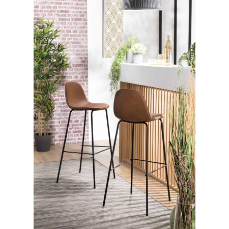 Lot de 2 tabourets de bar John marron