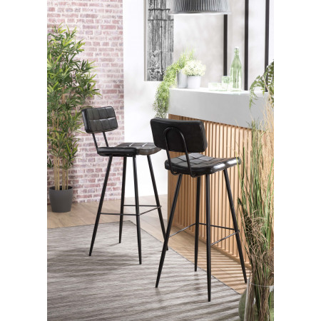 Lot de 2 tabourets de bar James noir hauteur...