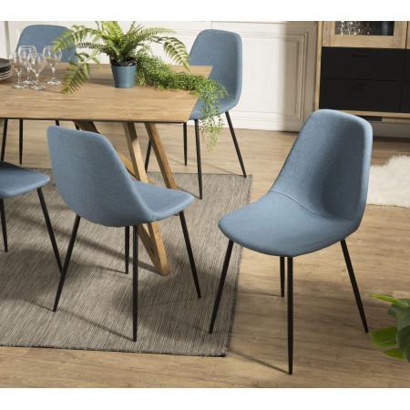 Lot de 2 chaises tissu bleu pieds métal