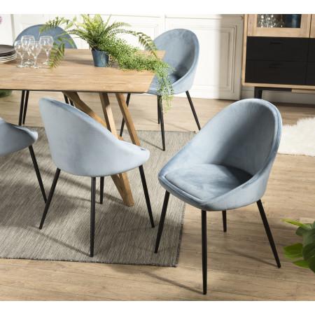 Lot de 2 chaises velours bleu pieds métal