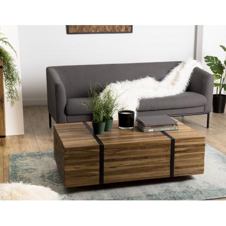 Table basse bois 110x70cm avec roulettes Teck...