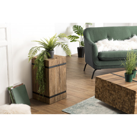 """Table d'appoint bois carrée """"M"""" Teck recyclé..."""