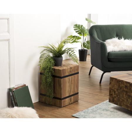 """Table d'appoint bois carrée """"S"""" Teck recyclé..."""