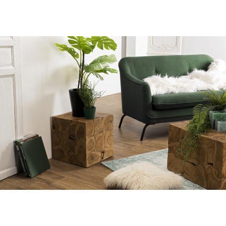 Cube bois 40x40cm Teck nature