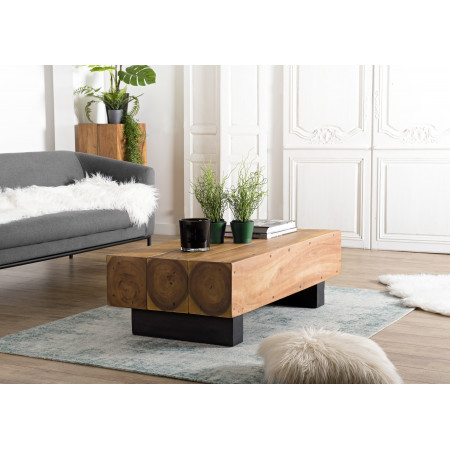 Table basse bois poutres 120x60cm bois Suar