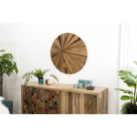 Décoration murale bois ronde 80x80 Teck recyclé