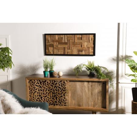 Décoration murale bois  rectangulaire mozaïc...